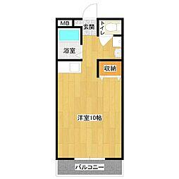 サンケイマンション第8ビル[1R号室]の間取り