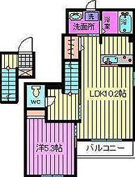 埼玉県川口市青木2丁目の賃貸アパートの間取り