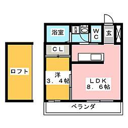 愛知県岡崎市明大寺町字荒井の賃貸マンションの間取り