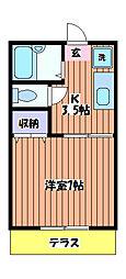 東京都立川市柏町2丁目の賃貸アパートの間取り