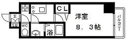 プレサンス谷町九丁目駅前 5階1Kの間取り