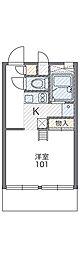 兵庫県神戸市北区有野中町3丁目の賃貸アパートの間取り