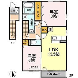 愛媛県松山市馬木町の賃貸アパートの間取り