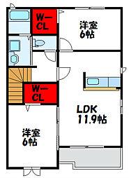 カームリーハウスT・A[2階]の間取り