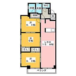 愛知県春日井市知多町4丁目の賃貸マンションの間取り