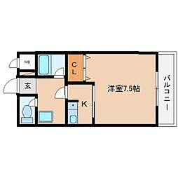 近鉄大阪線 桜井駅 徒歩4分の賃貸マンション 2階1Kの間取り