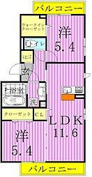 コート青井[201号室]の間取り