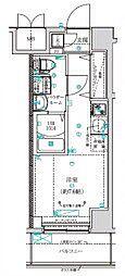 クラリッサ横浜阪東橋 8階ワンルームの間取り