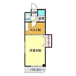 ウェルス稗田B 3階1Kの間取り