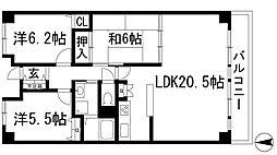 兵庫県宝塚市逆瀬台1丁目の賃貸マンションの間取り
