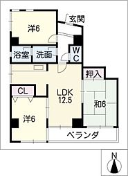 中日マンション千代田[5階]の間取り