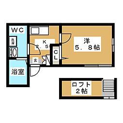 フィオーレ玉川学園 2階1Kの間取り