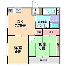 ウィングK[2階]の間取り