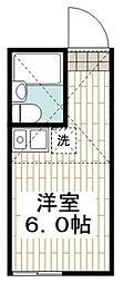 京急本線 黄金町駅 徒歩8分の賃貸アパート 2階ワンルームの間取り