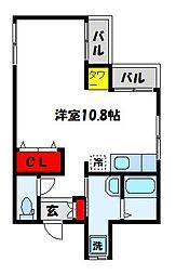 福岡県宗像市徳重1丁目の賃貸アパートの間取り