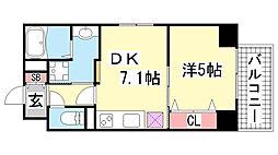 JEUNESSE北野[6B号室]の間取り