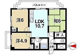 グランシャリオ桜井 6階3LDKの間取り