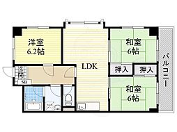 JR東海道・山陽本線 吹田駅 徒歩15分の賃貸マンション 3階3LDKの間取り