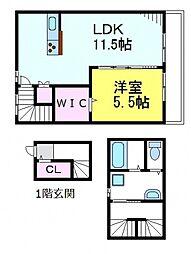 JR中央線 三鷹駅 徒歩14分の賃貸アパート 2階1LDKの間取り