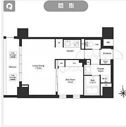 都営大江戸線 新御徒町駅 徒歩11分の賃貸マンション 5階1LDKの間取り