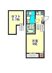 愛知県名古屋市北区田幡2丁目の賃貸アパートの間取り