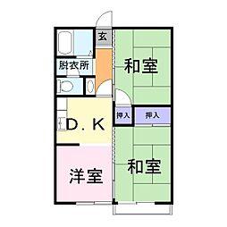 タウニィ日岡[1階]の間取り