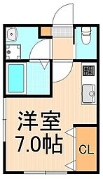 (仮称)西加平2丁目マンション 1階ワンルームの間取り