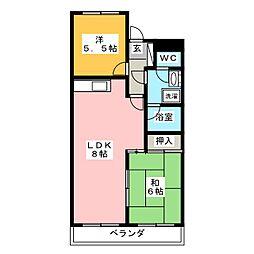 ライオンズマンション長住第2[4階]の間取り