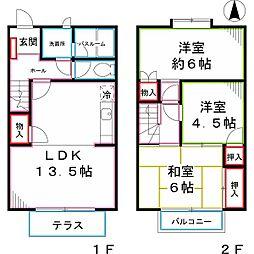 [テラスハウス] 東京都小金井市緑町3丁目 の賃貸【/】の間取り