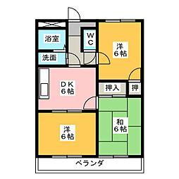 シャトー敷島[1階]の間取り