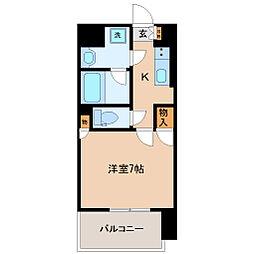 エルスタンザ広瀬通 RESIDENCE 6階1Kの間取り