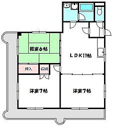 ロータリーマンション八雲西町[6階]の間取り