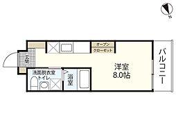 JR山陽本線 広島駅 徒歩23分の賃貸マンション 3階ワンルームの間取り