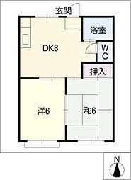 ファミール北松山[2階]の間取り