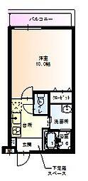 阪急神戸本線 塚口駅 徒歩13分の賃貸アパート 1階1Kの間取り