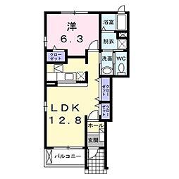 長野県長野市松代町西条の賃貸アパートの間取り