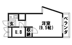 カルフールヤマザキ[4C号室]の間取り