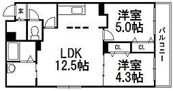 北海道札幌市白石区南郷通3丁目南の賃貸マンションの間取り