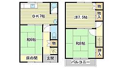 [テラスハウス] 兵庫県姫路市広畑区蒲田 の賃貸【/】の間取り