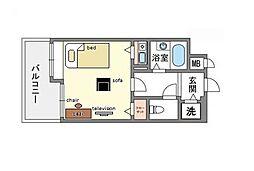 家具・家電付きフォルムビストゥール博多[5階]の間取り