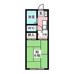 鈴虫荘B棟[1階]の間取り