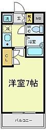 ウォブレマーニー阪南町[3階]の間取り