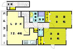 ヒルズ宮司II[2階]の間取り