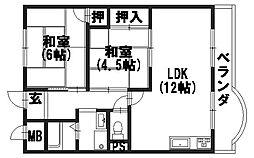 岡崎グリ−ンハイツ[2階]の間取り