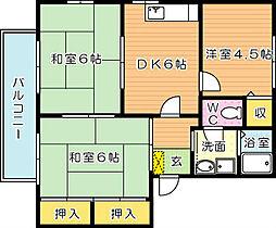 レジデンスプラトー B[2階]の間取り
