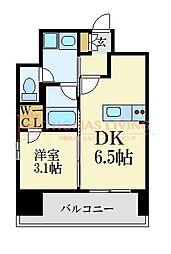 LANDIC 美野島3丁目 6階1DKの間取り