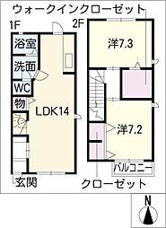[タウンハウス] 愛知県名古屋市西区五才美町 の賃貸【/】の間取り