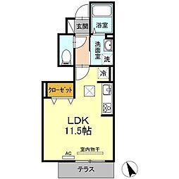 福岡市地下鉄七隈線 薬院大通駅 徒歩9分の賃貸アパート 1階ワンルームの間取り