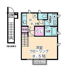 東京都町田市玉川学園5丁目の賃貸アパートの間取り
