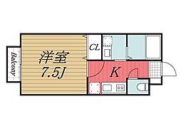 千葉県成田市公津の杜6丁目の賃貸アパートの間取り